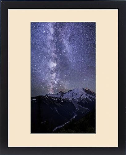Framed Print of USA. Washington State. The Milky Way looms above Mt. Rainier and the White by Fine Art Storehouse