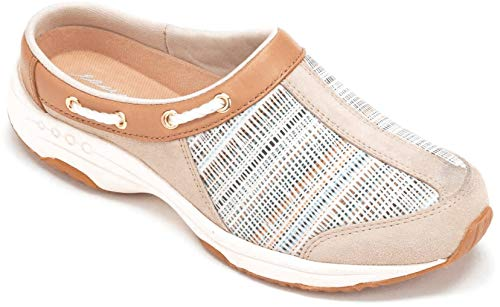 Easy Spirit Womens Travelport Leather Closed Toe Mules, Natural Stripe, Size 8.5 ()