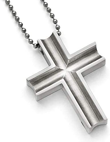 JewelryWeb Halskette Kreuz Titan poliert, 24 cm