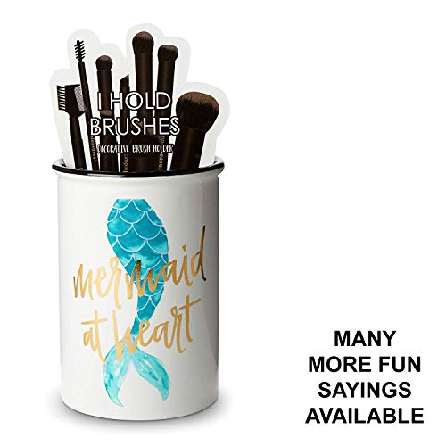 - Tri-Coastal Design Ceramic Makeup Brush Holder Storage Mermaid at Heart Cosmetic Organizer for Make Up Brushes