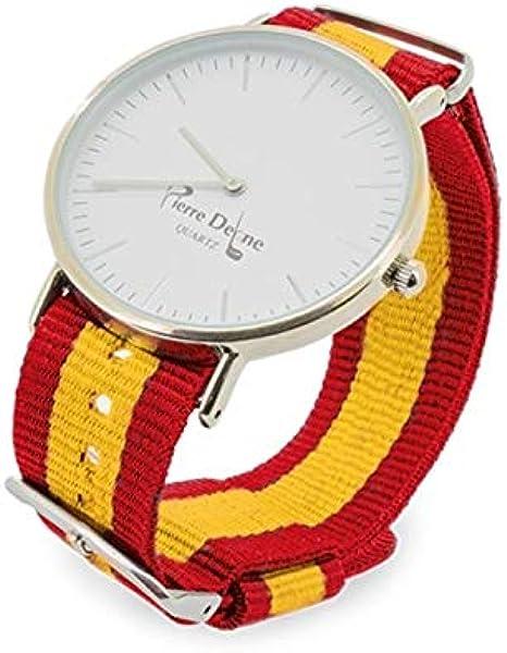 Set. Reloj España con Pulseras Intercambiables con la Bandera, presentado en Estuche y Bolsa Exterior de Tela Granate: Amazon.es: Relojes