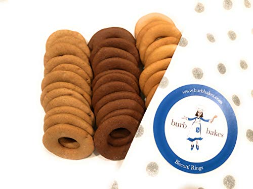 BURB BAKES Gourmet Biscotti Rings Gift Box - 3 Flavors - Original, Cocoa, Walnut Spice (36 Biscotti Rings-12 each flavor)