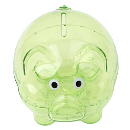 LDEXIN Plastic Collectible Piggy Bank Coin Cash Savings Box Clear for for Kid's Toy Birthday Gift (Green)