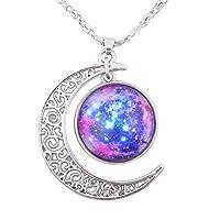 FANSING Collar para mujer maravilloso, colgante de galaxia, collares de nebulosa de luna cósmica cósmica, universo espacio joyería, ultra violeta