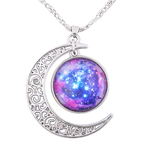 FANSING Womens Marvelous Necklace, Galaxy Pendant, Cosmic Crescent Moon Nebula Necklaces, Universe Space Jewelry, Ultra -
