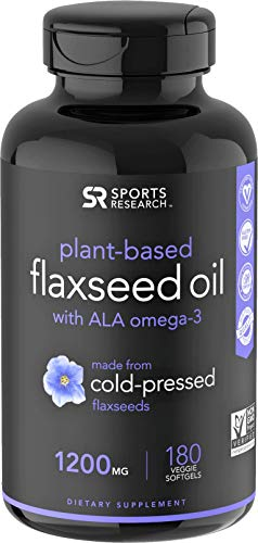 (100% Vegan Flaxseed Oil with Plant-Based Omega's 3,6 & 9 ~ Vegan Certified & Non-GMO Project Verified (180 veggie softgels))