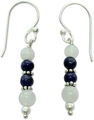 NOVICA Multi-Gem Lapis lazuli .925 Sterling Silver Dangle Hook Earrings 'Gujarat Skies'
