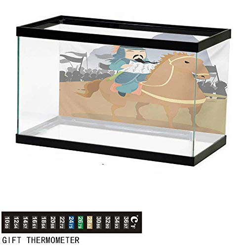 """wwwhsl Aquarium Background,Chinese,Far Eastern History Theme Military General Leading His Army Antiquity War Scenery,Multicolor Fish Tank Backdrop 48"""" L X 24"""" H"""