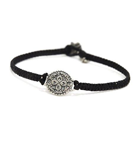 MIZZE Made for Luck Women's Black Macrame Charm Bracelet with 925 Silver Solomon Seal Love Amulet - Waterproof