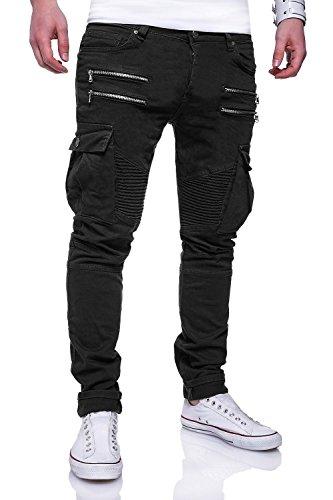 Behype Men's Jeans Pants Biker Regular Fit With Pockets RJ-3196 (Black,W30/L32) (Pocket Zipper Denim Pant)