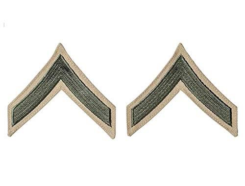 USMC Chevron Green on Khaki (Pair) (Female, E-2 Private First Class)