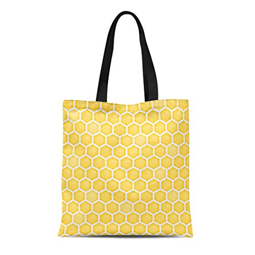 Semtomn Canvas Tote Bag Shoulder Bags Modern White Beehive Honeycomb Pattern Orange Geometric Abstract Amber Women's Handle Shoulder Tote Shopper Handbag ()