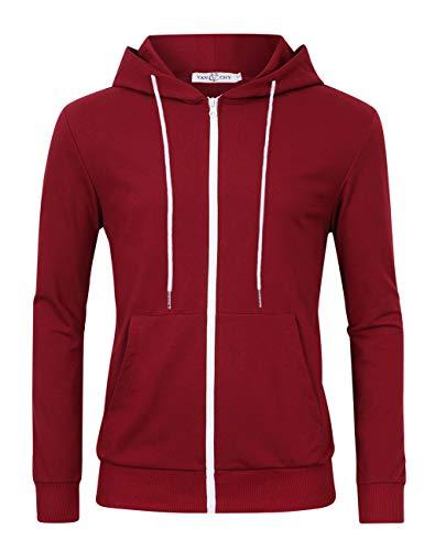 VAN CHY Men's Slim Fit Long Sleeve Lightweight Zip up Hoodie Hooded Sweatshirts with Kanga Pocket Wine Red M