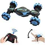 GoolRC RC Stunt Car, 4WD 2.4GHz Remote Control Car, Deformable All-Terrain Off Road Car, 360 Degree Flips Double Sided Rotating Race Car with Gesture Sensor Watch Lights Music for Kids (Blue) (Color: Blue)