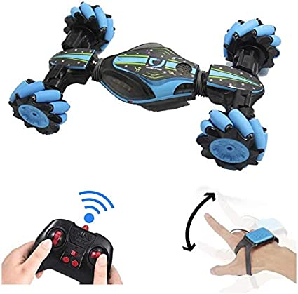 Amazon Com Goolrc Rc Stunt Car 4wd 2 4ghz Remote Control Car Deformable All Terrain Off Road Car 360 Degree Flips Double Sided Rotating Race Car With Gesture Sensor Watch Lights Music For Kids Blue