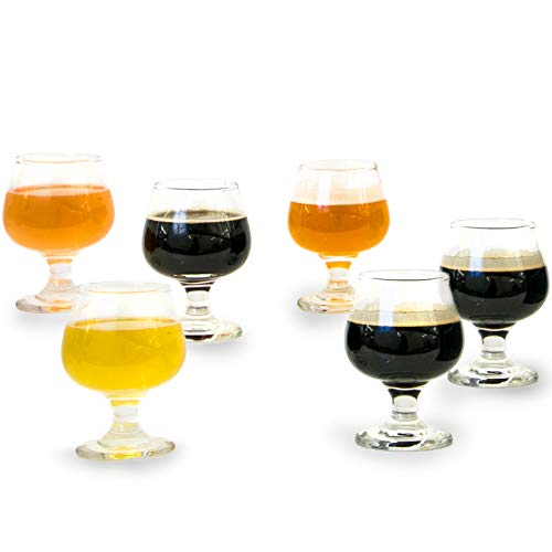 6 Piece Tasting Glass Set, Perfect for Brandy, Whiskey, Scotch, Bourbon, Craft Beer, Spirits & Wine, Short-Stemmed Tulip, 5.5 oz ()
