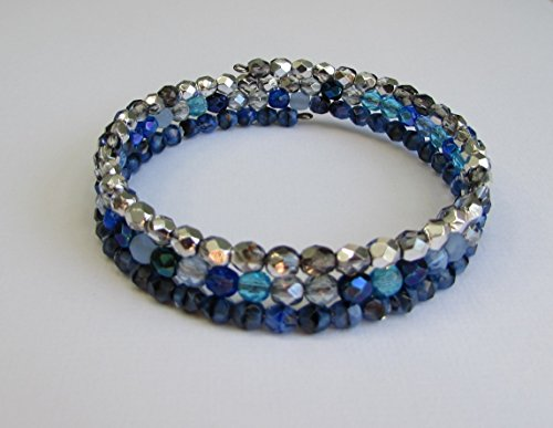 Handmade Blue and Silver Beaded Memory Wire Wrap Bracelet