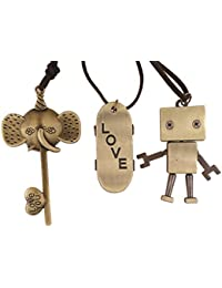 3Pcs Boys Cool Brown Cord Leather Necklace with Antique Bronze Finish Pendant