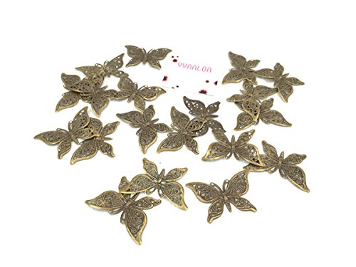 YYaaloa 30pcs 40x26mm Butterfly Charms Pendant for Necklace Bracelet Crafting Jewelry Making Accessory (30pcsBronze Butterfly (Diy Halloween Costumes For Groups)