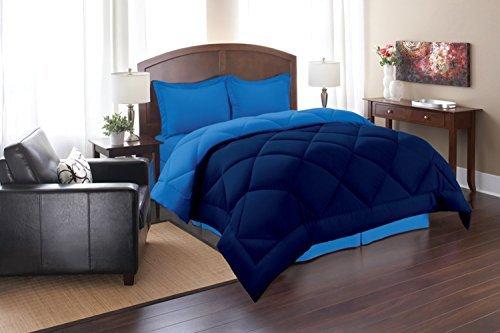Super Soft Goose Down REVERSIBLE Alternative Comforter, QUEEN, NAVY/AQUA by Elegance Linen