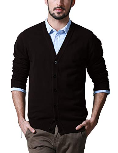 (Match Men's Sweater Series V-Neck Button Up Cardigan #Z1522(US M (Tag Size XL),Z1522 Maroon))