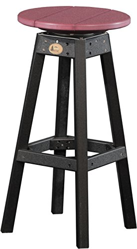 Furniture Barn USA Outdoor Bar Stool - Cherrywood and Black Poly Lumber - Recycled Plastic