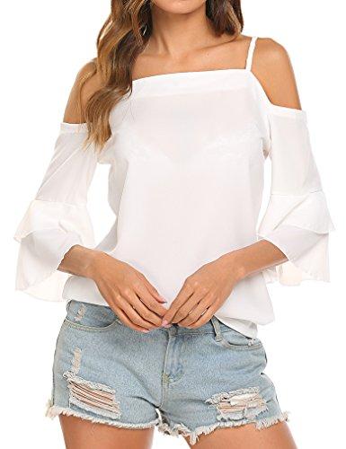 Tobrief Women's Cold Shoulder Bell 3/4 Sleeve Chiffon Blouse Top (L, (Sleeve Chiffon Womens Blouses)
