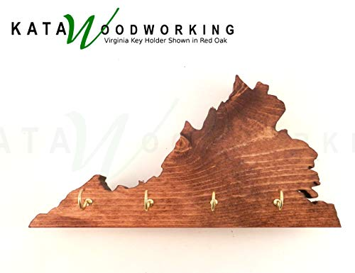 Virginia Key Holder for Wall - Wood Wall Mount - State Shaped Cut Out for Wall - Handmade
