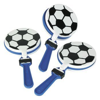 Football Noisemaker (Lot of 12 Soccer Clappers Party Favors Game Noisemaker)