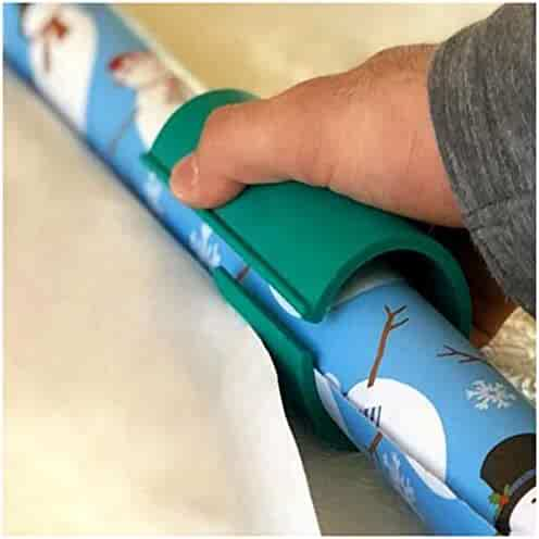 Unique Christmas Sliding Wrapping Paper Cutter, Cuts Perfect Line Every Single Time Wrapping Paper Roll Cutter Easy Safe Cutter Tool (Green)