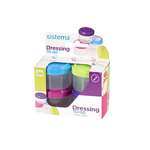 Mini Set Meal (Sistema To Go Collection Salad Dressing Container, 1.1 oz./32.5 mL, Pink/Green/Blue/Purple, 4 Count)