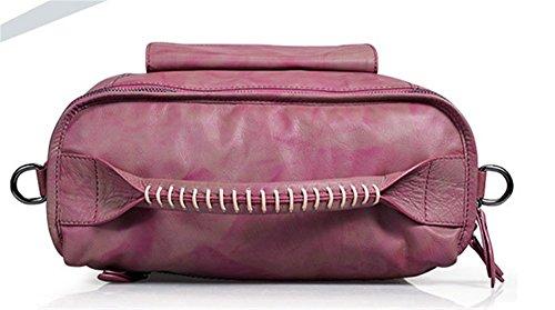 La mujer Xinmaoyuan bolsos de cuero único de gran capacidad bolso de cuero de vaca Color Retro dos señoras bolso cuadrado tipo maleta,púrpura Violeta