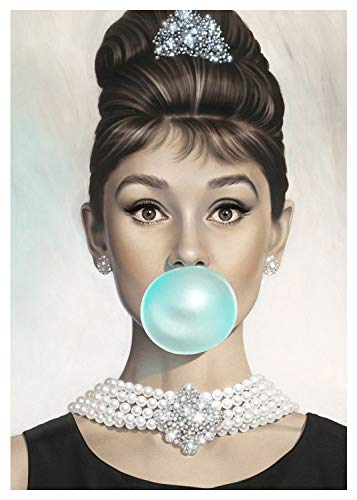 Van Eyck Audrey Hepburn Tiffany Blue Bubble Gum Canvas Poster Wall Art for Guest Bedroom Decor Kitchen Decoration Living Home Decorations(12x16 inch with Inner Frame) ()