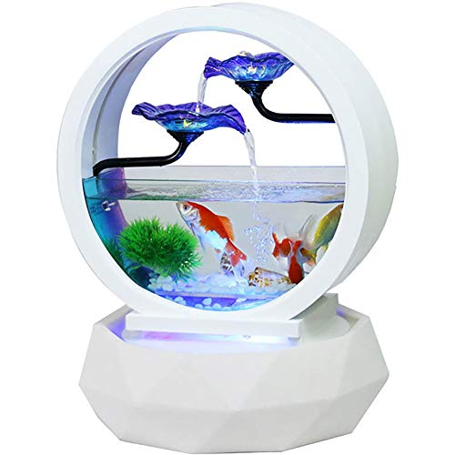Feng Water Shui (Diamond Ring Shape Indoor Water Fountain, Innovative Fish Tank, Ceramics Feng Shui Ornaments, Waterfall for Home Decor with Colored Pebbles, Colorful Lights, Simulated Water Grass,A)