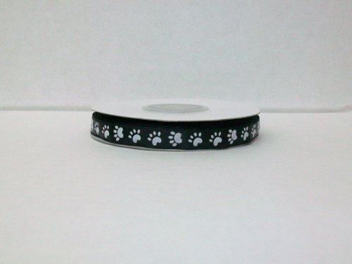 Dog Paw Print Satin Ribbon 3/8 Inch 25 Yards -- Black Background/ White Paw Print -