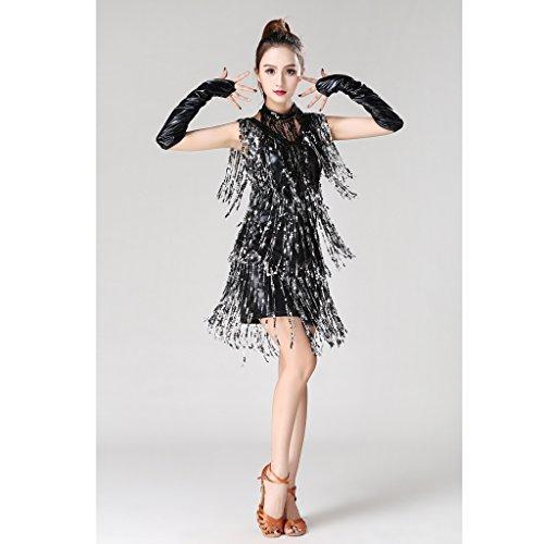 Paillettes 1920s Ballo Charleston Donna Ragazze non Da per Abiti Costumi nero brand Sharplace Frangia argento 4Zn1Ba