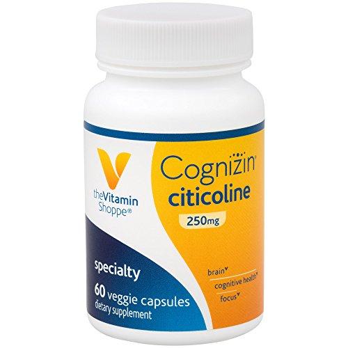 The Vitamin Shoppe Cognizin Citicoline 250MG, Cognitive Health Supplement to Support Brain and Focus (60 Veggie Capsules)