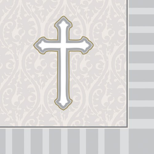 Creative Converting Devotion Cross Lunch Napkins, Silver, 16 Count (Silver Offering Plate)