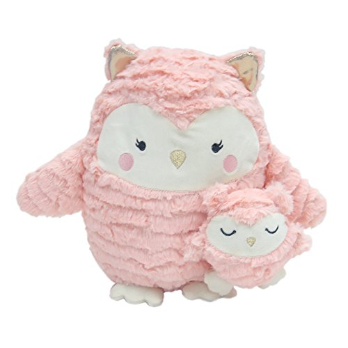 (Happi by Dena Woodland Couture Owls Plush Olivia and Olive, Pink/Gold)