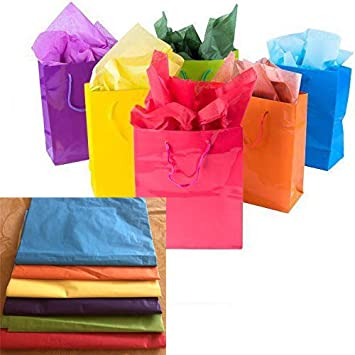 Amazon.com: Adorox - 12 bolsas de papel de regalo de colores ...