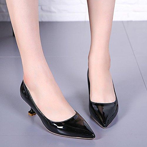 con Grosor Zapatos Wild Zapatos la con Lady Zapatos de Solo Zapatos 5cm de Femeninos Hembra la Negro y Tacón Alto Xue de Punta de Qiqi qFOwff