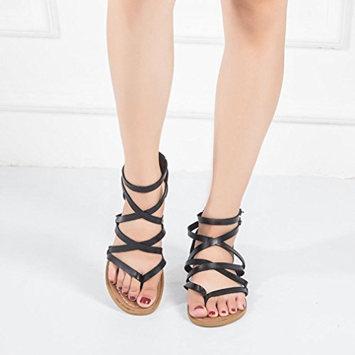 Thong Strap Sandals Cross Back Flops Sandals Casual Summer Inkach Fashion Flip Beach Shoes Black Womens Zipper Flat tqxATwW8YH