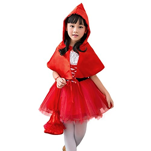 Amurleopard Halloween Kids Girls Cos Little Red Riding Hood Dress Costume L (Little Red Riding Hood Cosplay)