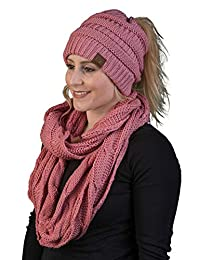 afd06121108 Funky Junque Womens Infinity Scarf and Messy Bun Beanie Tail Matching  Winter Set