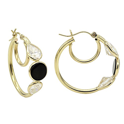 Aleksa 14k Yellow Gold Three-stones black onyx & pear shape CZ White color Cubic-Zirconia Hoops Earrings Black Onyx Pear Shape