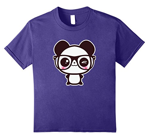 Kids Cute Nerd Panda With Glasses Tee - Kawaii Chibi Geek Panda 12 Purple