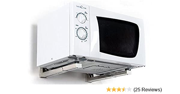 Amazon.com: New Foldable White Stretch Shelf Rack for Microwave Oven Wall Mount Bracket: Kitchen & Dining