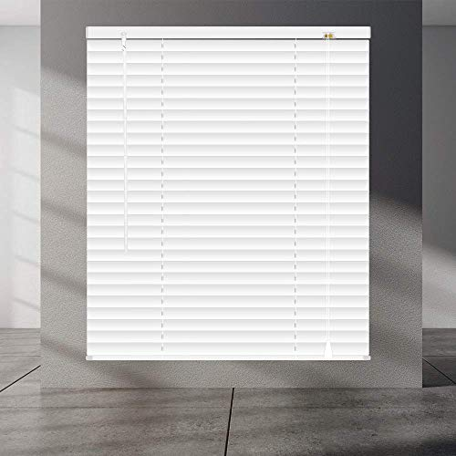 SEEYE Horizontal Venetian Slat Light Filtering Mini Window Blinds Cellular Shade Anti-UV Aluminum Easy to Install 22″ x 64″,White