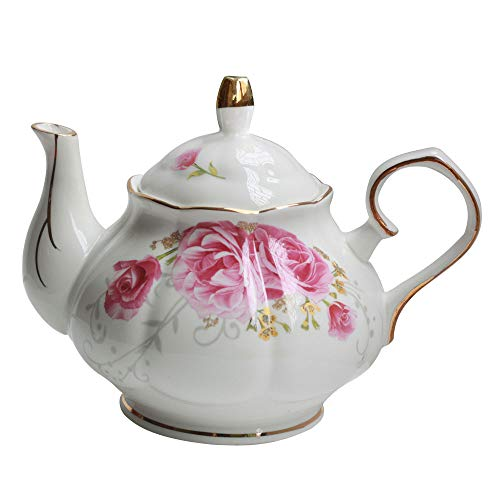 Vintage Floral Porcelain - Jomop Pottery Teapot Cool Gift For Tea Lovers Handmade Ceramic Teapot (Pink)