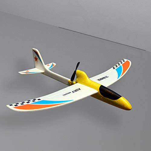 MORE11 RC Airplane Toy, Electric EPP Foam Aircraft Remote Controlled with 2.4 GHz with Battery Case, Hand Throwing Children Flying Toy (Yellow) ()